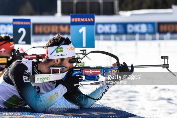TOPSHOT French Martin Fourcade competes in the Men 4x75 km Relay Competition at the IBU Biathlon World Cup in RasenAntholz Italian Alps on February...
