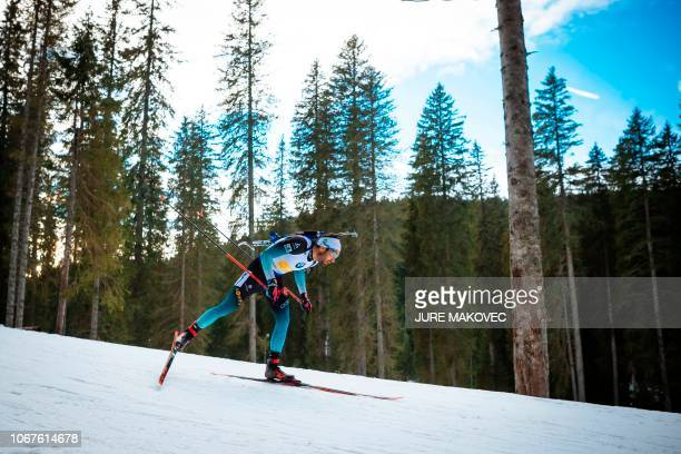 French Martin Fourcade during the Mixed Relay competition of the IBU Biathlon World Cup in Pokljuka on December 2 2018