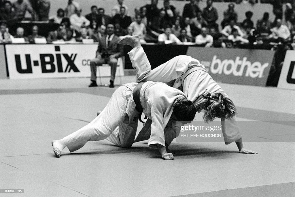 French Martine Rottier (L) and Norwegian Inger lise Solheim fight during the Judo World championship , on December 4, 1982, in Paris. Martine Rottier won the gold metal (less than 61kg) as her teamates Brigitte Deydier (less than 66kg) and Natalina Lipino (more than 72kg).