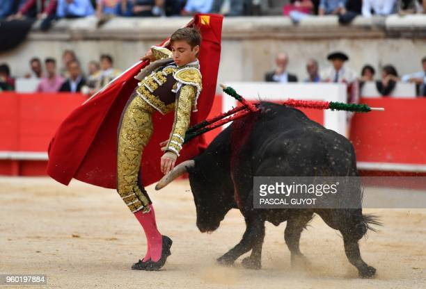French matador Andy Younes makes a muleta pass on a Garcigrande fighting bull on May 19 2018 during the Nîmes Pentecost Feria southern France