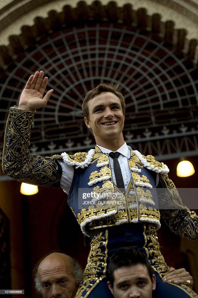 French matador Juan Bautista celebrates after a corrida at the Granada bullring on June 6, 2010 in Granada, southern Spain.