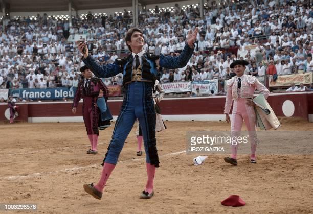 French matador Sebastian Castella celebrates at Plumacon arena in Mont de Marsan during the festival of La Madeleine southwestern France on July 21...