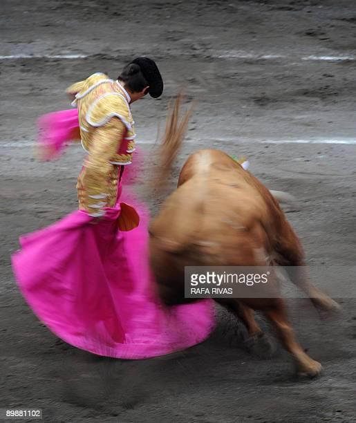 French matador Sebastian Castella gives a capote pass to an El Ventorrillo fighting bull during a corrida at the Vista Alegre bullring in Bilbao...