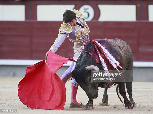 French matador Sebastian Castella performs a pass on a bull during the San Isidro bullfight festival at Las Ventas bullring in Madrid on June 4 2015...