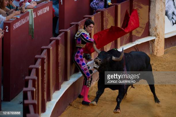 French matador Sebastian Castella performs a pass with muleta on a bull during the Picassiana bullfight at the Malagueta bullring on August 14 2018