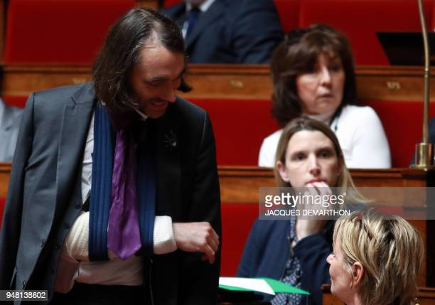 French mathematician and La Republique En Marche member of the parliament Cedric Villani arrive for a session of questions to the government at the...