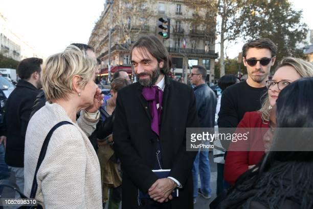 French mathematician and La Republique En Marche member of the parliament Cedric Villani takes part in a gathering against homophobia place de la...
