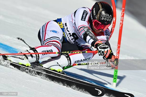 French Mathieu Faivre competes in the first run of the Men's Giant Slalom event on February 19, 2021 at the FIS Alpine World Ski Championships in...