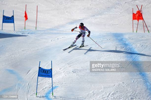 French Mathieu Faivre competes in the second run of the Men's Giant Slalom event on February 19, 2021 at the FIS Alpine World Ski Championships in...