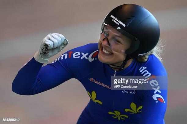 TOPSHOT French Mathilde Gros gestures after winning the Woman's individual Elite of the French championships on August 14 2017 at the Hyeres'...