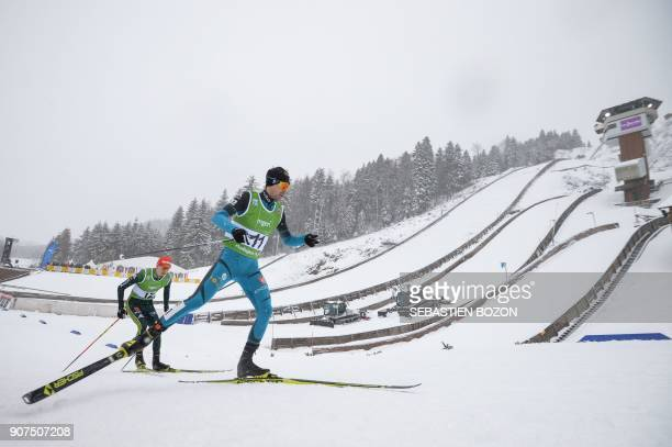 French Maxime Laheurte competes during the individual Gundersen of the FIS Nordic Combined World Cup on January 20 2018 in ChauxNeuve eastern France...