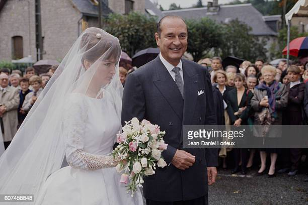 French mayor of Paris and former Prime Minister Jacques Chirac during the wedding of his daughter Claude with political scientist Philippe Habert
