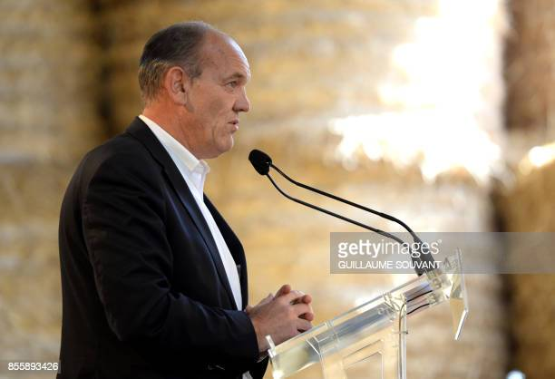 French Mayor of Touquet Daniel Fasquelle speaks on September 30 2017 at the Fete de la Violette a political gathering at SouvignyenSologne Central...