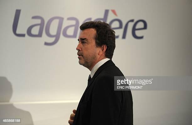 French media group Lagardere Chief Executive Arnaud Lagardere arrives to give a press conference to present the group's 2014 results on March 11,...