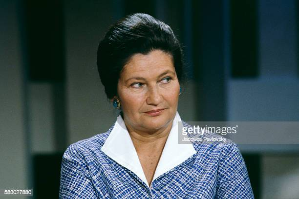 French Member of European Parliament Simone Veil attends a meeting about geopolitics organized by MarieFrance Garaud in Paris