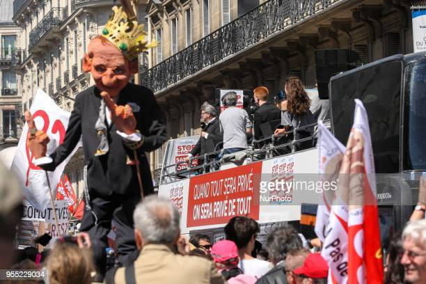 French member of Parliament and leader of the far left La France Insoumise party JeanLuc Melenchon speaks during a protest dubbed a quotParty for...