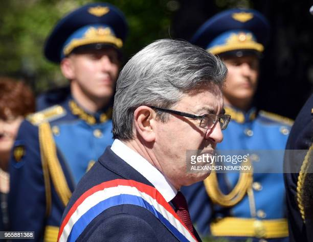 French member of Parliament and leader of the farleft La France Insoumise party JeanLuc Melenchon visits a monument to France's WWII NormandieNiemen...