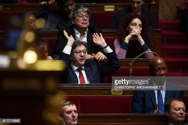 French Member of Parliament and leader of the French leftist party La France Insoumise JeanLuc Melenchon reacts during a session of questions to the...