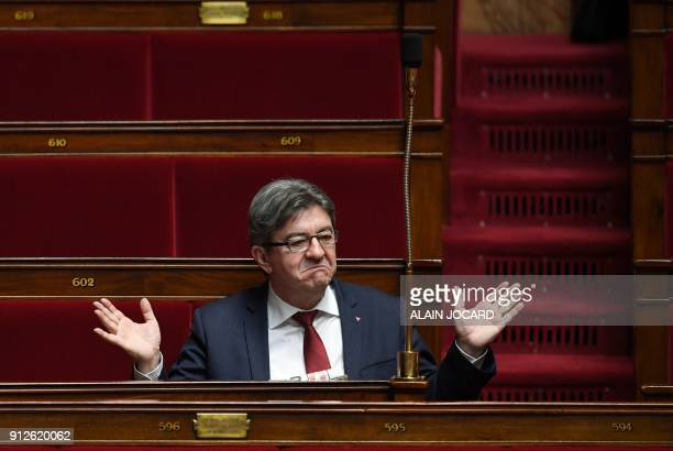 French Member of Parliament and leader of the French leftist party La France Insoumise JeanLuc Melenchon gestures as he attends a session of...