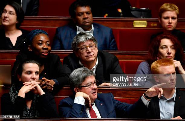 French Member of Parliament and leader of the French leftist party La France Insoumise JeanLuc Melenchon gestures during a session of questions to...