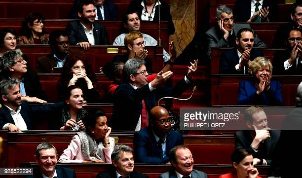 French Member of Parliament and leader of the French leftist party La France Insoumise JeanLuc Melenchon gestures during a government question and...