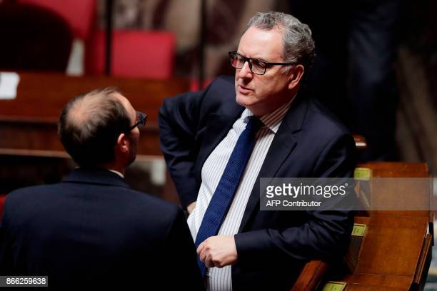 French member of Parliament and president of the La Republique En Marche parliamentary group Richard Ferrand attends a session of questions to the...
