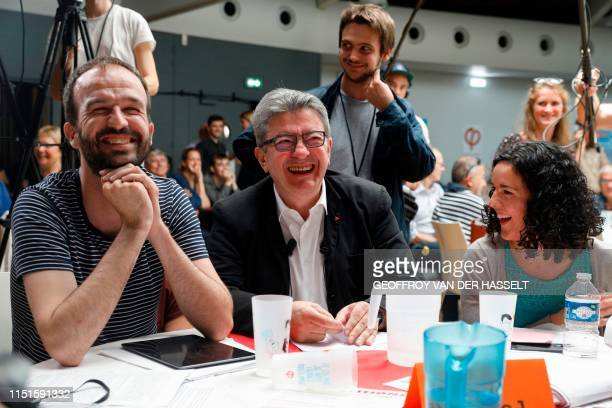 French member of Parliament and president of the leftist La France Insoumise party JeanLuc Melenchon laughs with European Deputy of French leftist La...