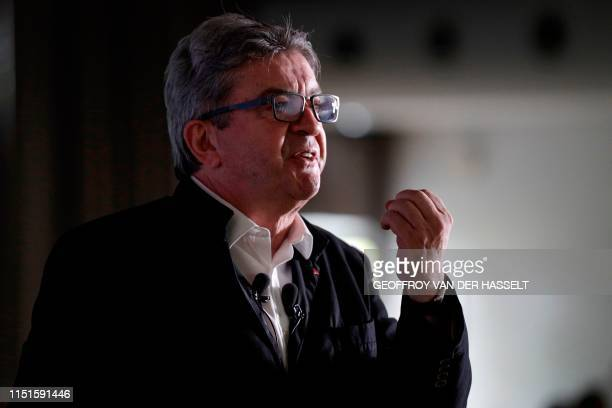 French member of Parliament and president of the leftist La France Insoumise party JeanLuc Melenchon gestures as he speaks during a representative...