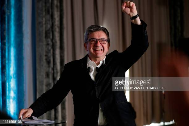 French member of Parliament and president of the leftist La France Insoumise party JeanLuc Melenchon raises his fist during a representative assembly...