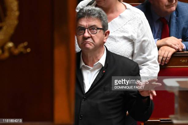French member of Parliament and president of the leftist La France Insoumise party JeanLuc Melenchon gestures during a session of questions to the...