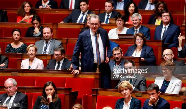 French Member of Parliament Maurice Richard Ferrand speaks during a session at the National Assembly in Paris on September 26 2017 / AFP PHOTO /...