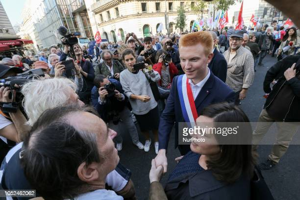 French member of Parliament of the leftist La France Insoumise party Adrien Quatennens speakswith demonstrators during a demonstration called by...