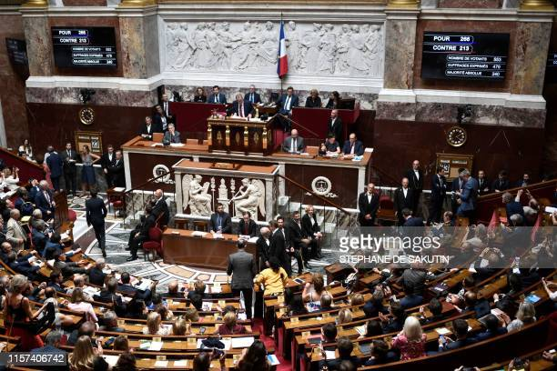 French members of Parliament leaves the National Assembly hemicycle after a vote to ratify the CETA during a session at the French National Assembly...