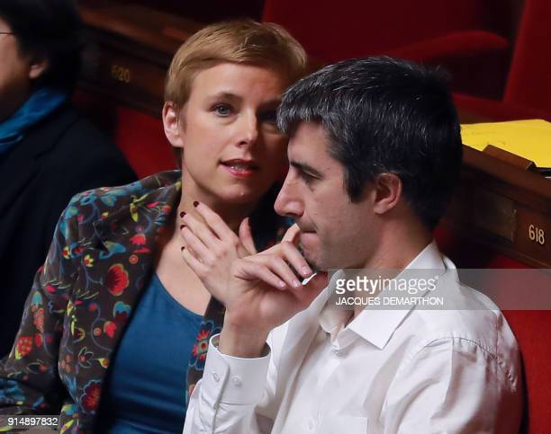 French Members of Parliament of the leftist La France Insousime party Clementine Autain and Francois Ruffin speak during a session of questions to...