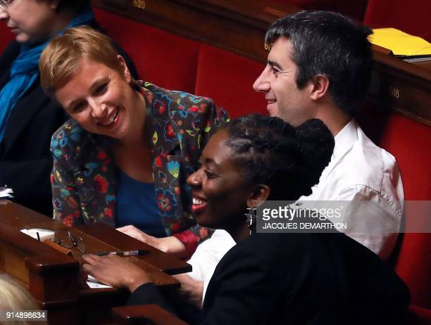 French Members of Parliament of the leftist La France Insousime party Clementine Autain Daniele Obono and Francois Ruffin speak during a session of...