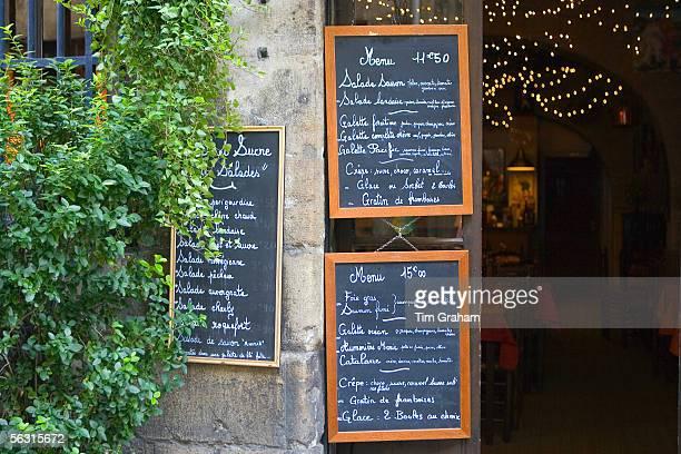 French menus outside cafe restaurant in Bordeaux France