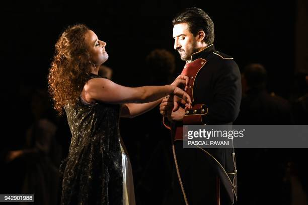French mezzosoprano Clémentine Margaine as Carmen and US tenor Charles Castronovo as Don José perform the opera Carmen by Georges Bizet during a...
