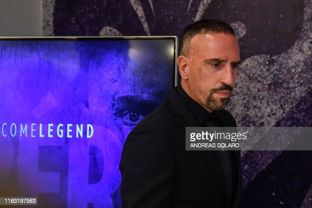 French midfielder Franck Ribery arrives for a press conference held for his presentation as a new player of Fiorentina at the municipal stadium...