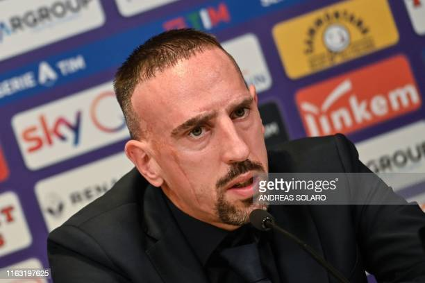 French midfielder Franck Ribery speaks during a press conference held for his presentation as a new player of Fiorentina at the municipal stadium...