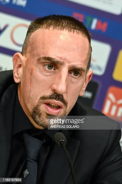 French midfielder Franck Ribery speaks to journalists during a press conference held for his presentation as a new player of the Italian football...