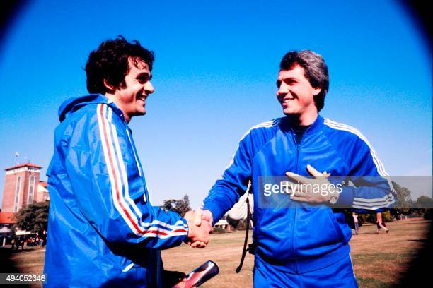 French midfielder Michel Platini shakes hands with Italian player Roberto Bettega prior to the 1978 World Cup in Argentina, on June 1978. AFP PHOTO /...
