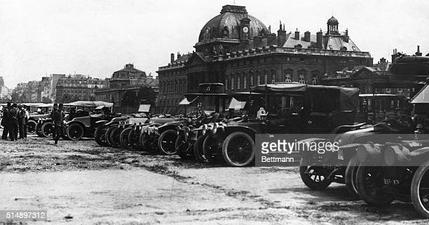 French military authorities dispatch some 600 taxi cabs to ferry almost 6,000 reserve infantry troops to the front before the First Battle of the...