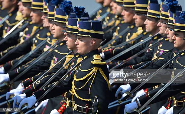 French military forces parade on the ChampsElysees for the 2013 annual Bastille Day celebrations in Paris France on July 14 2012 Photo by...