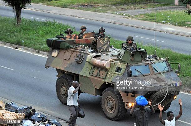 French military mission in Ivory Coast soldiers patrol a street in Abidjan on April 1 2011 Ivory Coast strongman Laurent Gbagbo's forces repulsed an...