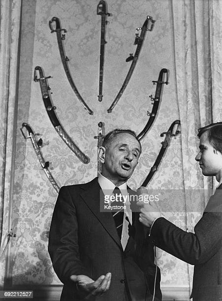 French military officer Marcel Bigeard the new secretary of state to minister Yvon Bourges at a press conference at the Hotel de Brienne in Paris 4th...