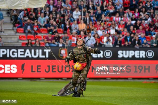 French military parachutist with the match ball during the Ligue 1 match between Stade Rennes and Montpellier Herault SC at Roazhon Park on May 19...