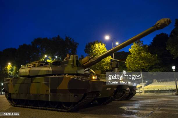 French military tank Leclerc 2 drives down the Champs Elysee during the Bastille Day military ceremony rehearsals on July 12, 2018 in Paris, France....