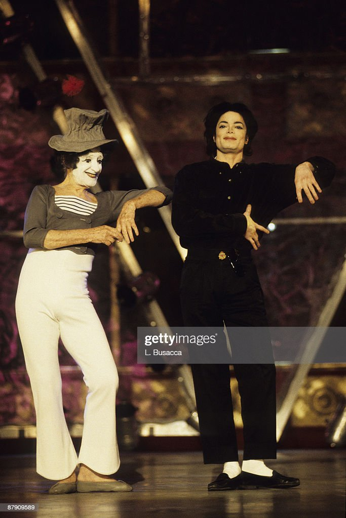French mime and actor Marcel Marceau and American musician Michael Jackson perform onstage at the 12th Annual MTV Video Music Awards at Radio City...