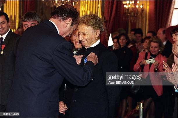 French mime Marcel Marceau and Jacques Chirac in Paris France on November 24 1998