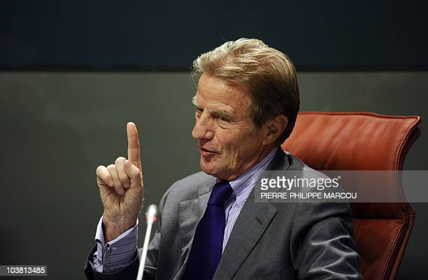 French Mininister of Foreign and European Affairs Bernard Kouchner gestures during a joint news conference with his Spanish counterpart Miguel Angel...
